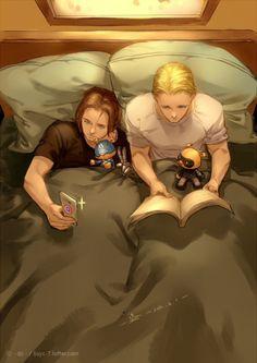 Steve x Bucky reading in bed fanart by liu-yu-chi | Is Bucky taking a selfie?