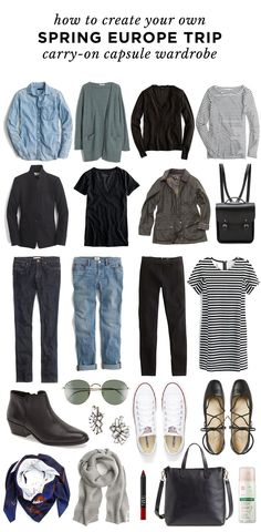 A Travel Capsule Wardrobe: Your Ultimate Packing List - Your ultimate packing list for traveling light to Europe in the Spring? Create a travel capsule wardrobe. Click through to read! Source by Kinalinas - Travel Outfit Summer Airport, Europe Spring, Winter Europe, London Winter, Packing List For Travel, Packing Lists, Europe Packing, Packing Ideas, Travel Packing Outfits