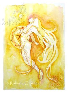 Diosa de Chakra Plexo Solar / diosa amarilla 'Manipuraka' / arte de la pared…