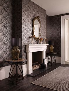 O&L wallpaper could be entrance too Home Wallpaper, Fabric Wallpaper, Osborne And Little Wallpaper, Discount Wallpaper, Design Your Kitchen, Interior Decorating, Interior Design, Dark Interiors, Traditional Wallpaper