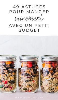 - Beauty & Health - 49 astuces pour manger sainement tout en économisant et sans gaspillage 49 tips for healthy eating even on a budget and without waste. Lunch Meal Prep, Healthy Meal Prep, Healthy Tips, Healthy Eating, Healthy Recipes, Healthy Carbs, Clean Eating, Salad In A Jar, Batch Cooking