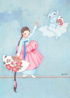 구름 위 외줄 타기 Korean Illustration, Cute Illustration, Korean Art, Asian Art, Boy Art, Art Girl, Anime Korea, Ulzzang Kids, Batik Art