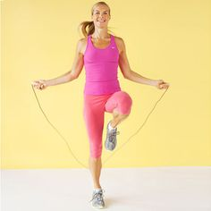 While jumping rope, raise 1 knee up as high as you can, then repeat with other knee. Alternate for 1 minute. | Health.com