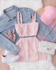Cute Lazy Outfits, Girly Outfits, Stylish Outfits, Girls Fashion Clothes, Teen Fashion Outfits, Outfits For Teens, Skirt Outfits Modest, Crop Top Outfits, Moda Fashion