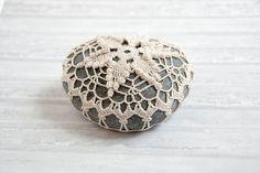 Crochet stone crochet rock star beach wedding ring bearer pillow tabletop decor home decor natural thread bowl element paperweight (35.00 USD) by TableTopJewels