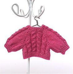 Miniature pink sweater/pullover for a 3.5 inches doll. Hand-knitted miniature sweater/ doll clothes by AnnaToys on Etsy