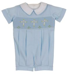 NEW Remember Nguyen (Remember When) Blue Smocked Romper with Embroidered Crosses $40.00