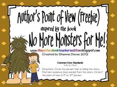 This Author's Point of View freebie was created to use with the book No More Monsters for Me by Peggy Parish.Students will determine the Author's. Authors Viewpoint, Authors Perspective, Kindergarten Reading, Teaching Reading, Teaching Ideas, Guided Reading, Learning, Reading Response, Reading Skills