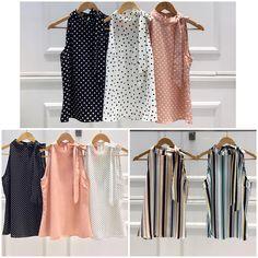 ✨✨. Chegou a reposição da blusa Bia! Cada estampa mais linda do que a outra! ❤️❤️❤️ #blusa #blouse #blusinha #regata #laço  Ref. Blusa Bia.  Estampas variadas.