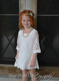 Holiday Special Set -The Autumn Vintage Lace Flower Girl Dress and Pearl Bracelet for toddlers & girls sizes 1T,2T,3T,4T,5T,6,7/8,9/10,11/12...