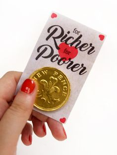 For richer for poorer coins are an easy DIY wedding favour that your guests are guaranteed to love! Simply download our free printables and stick a chocolate coin on each one. These ones are perfect for a vintage wedding and a great way to throw a wedding on a budget!