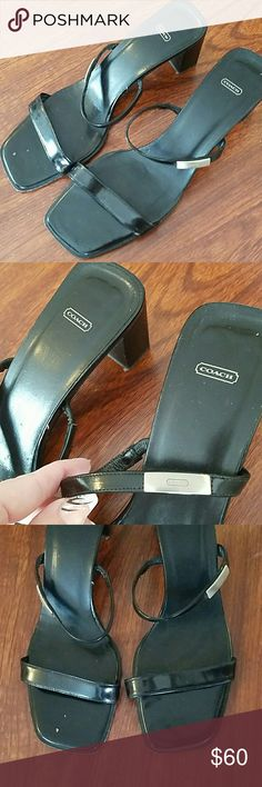 Coach wedge slip on heels size 9 1/2 Couple of little marks all in pics still in great condition Coach Shoes Heels