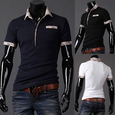 Fitted T Shirts Mens Turn Down Collar Short Sleeve Polo 2014