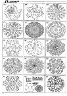 Crochet motifs or doilies/ coasters Mandala Au Crochet, Crochet Doily Diagram, Crochet Motif Patterns, Crochet Symbols, Crochet Chart, Thread Crochet, Crochet Designs, Crochet Doilies, Crochet Flowers