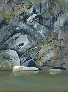 """Arthur Boyd (Australian, Upturned boat on Budgong Creek, Oil on composition board, x cm. Australian Painting, Australian Artists, Realistic Paintings, Original Paintings, Abstract Landscape, Landscape Paintings, Arthur Boyd, Beautiful Paintings, Rock Pools"