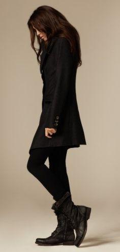All Black .  Coat  .  Boots