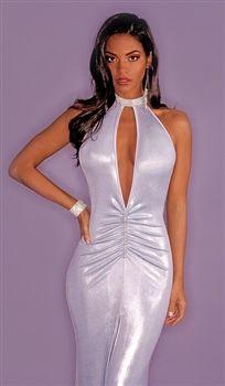 Crystal keyhole shiny prom dress by Kamala Collection Metallic Prom Dresses ec7ac8528