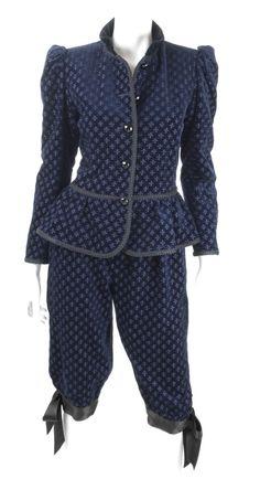 Yves Saint Laurent Navy Velvet Knee Breeches Suit 1980s