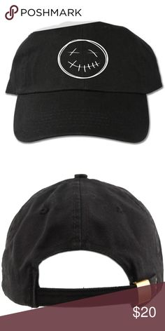 Travis Scott Smiley Face Black Dad Hat adult hat Graphic at front Strapback One  size cotton Designed with vinyl Accessories Hats 9163ea4bf4cb