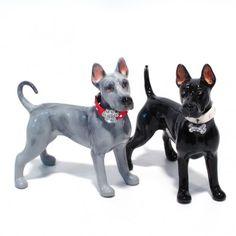 Thai Ridgeback Black and Blue Ceramic Handmade Figurine S&P Shaker 05