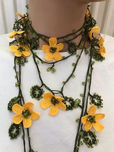 yellow daisy necklace, handmade gift for valentines day gift, bohemian necklace, vintage belt, crochet lariat, designer necklace, ethnic, Handcrafted crochet necklace. Made from lace yarn is polyester. Do not bleed in colors can be washed and ironed . Yellow daisy flower crochet