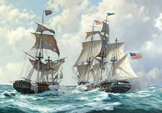 An American and a British Naval Vessel during the War of 1812 (Derek Gardner)