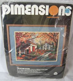 """Beautiful Needlepoint Dimensions Kit The Road Home Country Farm Fall 16"""" x 12""""!"""