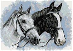Black & white horses cross stitch kit or pattern