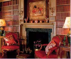 My favorite home library would be painted deep red.