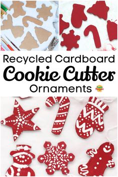 Pick a colour and make a set of these cute and easy cardboard cookie cutter Christmas ornaments. Fun and easy Christmas craft for kids of all ages. Make sets in all different colours for your Christmas tree or to give as gifts! #HappyHooligans #Homemade #Ornament #Christmas #Craft #Kids #Recycled #Cardboard Christmas Cookie Cutters, Christmas Ornaments To Make, Christmas Crafts For Kids, How To Make Ornaments, Simple Christmas, Christmas Cookies, Christmas Time, Xmas, Christmas Activities For Kids