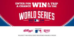 Enter the Kellogg's MLB World Series Sweepstakes and win a trip for two to attend one 2014 MLB World Series Championship game. Expiration Date: 06-30-2014, Contest Eligibility: US - GiveawayFrenzy