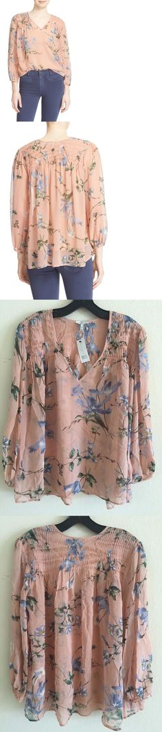 Tops and Blouses 53159: Joie Women Kanni Floral Print Silk Crepe Sheer Blouse Shirt Top Pink M $298 A005 -> BUY IT NOW ONLY: $59.99 on eBay!