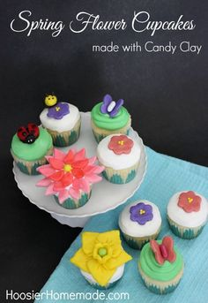 After our long Winter, we are all looking forward to the Spring Flowers, Grass, Trees, Warm Weather and yes even the Bugs. These Spring Flower Cupcakes are a celebration of what Spring has to offer. The flowers, lady bug and bumblebee are made with Candy Clay, a fondant like product that is easy to make, work with and taste really good. Come and learn how easy it is to make Candy Clay. There's a how-to Video too! Be sure to save to your Cupcake Board!