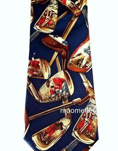 Golf Clubs Silk Tie Golfing Sports Golfer Navy Red Italy Mens Novelty Necktie #DeGemmis #NeckTie