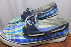 Sperry Sider Blue Plaid Canvas Loafer Boat Shoes Womens 7.5 #SperrySider #LoaferBoatShoe