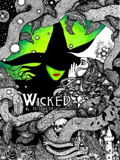 """Wicked 9x12"""" signed illustration PRINT pen and ink colored Wizard of Oz wicked witch Emerald City field of roses good witch skull by WyldTrees on Etsy"""