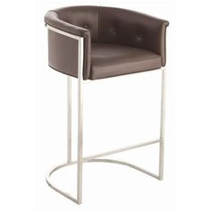 Arteriors Calvin Top Grain Polished Nickel Barstool - traditional - bar stools and counter stools - Candelabra Brown Leather Bar Stools, Short Stools, Art Deco Bar, Counter Bar Stools, Modern Bar, Eclectic Modern, Midcentury Modern, Mid Century Modern Furniture, My Living Room