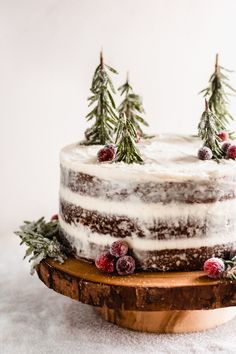 Oct 2019 - Three layers of deeply-flavored gingerbread cake, w/ mascarpone cream cheese frosting! Add sugared cranberries + fresh rosemary to make a winter wonderland! Holiday Cakes, Holiday Baking, Christmas Desserts, Holiday Treats, Christmas Treats, Christmas Baking, Holiday Recipes, Christmas Appetizers, Bolo Nacked