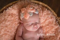 Peach Headband..Baby flower headband..Baby by FancyCarrieBoutique, $11.75