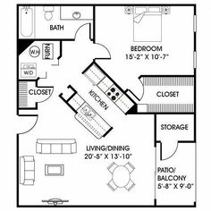 I like how the space surrounds the kitchen and allows ease of access to other areas of the plan. Living Haus, Tiny House Living, Small Living, Living Spaces, Small House Plans, House Floor Plans, Tiny Home Floor Plans, 1 Bedroom House Plans, Guest House Plans