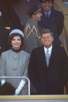 First Lady Jacqueline Kennedy with President John Fitzgerald Kennedy at his presidential inauguration, January 20th, 1961....