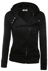 DJT Womens Casual Oblique Zipper Hoodie Jacket Coat Medium Black: Size Guide br S: Length Bust Waist Shoulder width Sleeve Length M: Length Bust Waist Shoulder width Sleeve Length L: Length Bust Waist Shoulder width Sleeve Length XL: Length Bust Waist Cool Outfits, Fashion Outfits, Sexy Outfits, Women's Fashion, Street Fashion, Pullover, Zip Hoodie, Ladies Dress Design, Sweater Jacket