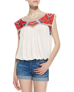 Chevron Embroidered Disco Tee, Snow Combo by Free People at Neiman Marcus.