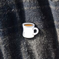 "But first...Coffee pin. - Black Metal - .75"" Wide - Black Rubber Clutch"