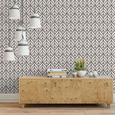 Modern geometric leaf removable wallpaper / cute self adhesive