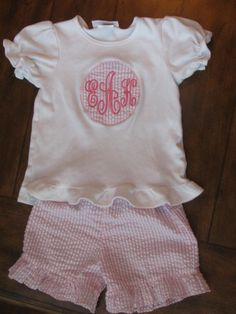 Monogrammed Patch Shirt with Pink Seersucker Ruffle Shorts Outfit.