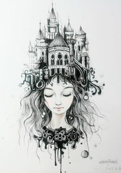 "Castle hair tattoo drawing Wow as soon as I saw this I thought ""castle of the imagination"""