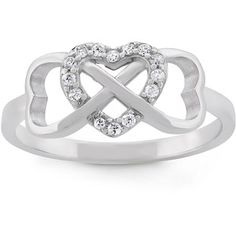 Cubic Zirconia Sterling Silver Triple Heart Ring