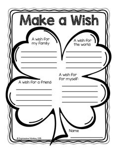 A FREE page by Expressive Monkey. Use this lucky 4-leaf clover to get to know your students better. As they write a sentence about their wishes for their family, the world, a friend and themselves, you'll be surprised about how much you learn about them. This sheet also reinforces the idea people should think about the world and others instead of only themselves for their wishes.