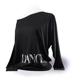 """Off The Shoulder Long Sleeve Dance Top """"Dance"""" - Black. Dancewear for ballet, tap, or jazz dancer. by designer4dance"""